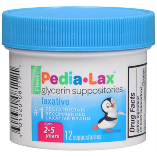 Fleet Pedia-Lax Glycerin Suppositories 12 Each (Pack of 2)