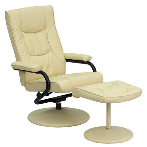 Contemporary LeatherSoft Recliner and Ottoman with LeatherSoft Wrapped Base-Color:Cream