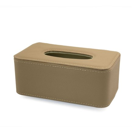 PU Leather Car Seat Back Mount Tissue Box Napkin Paper Holder Case Beige