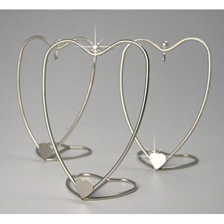 Heart Shaped Ornament Display Stand Home Decorative Displayer Brushed Silver Metal Wire - 4 Inch - Pack of 3 - Heart Shaped Ornaments