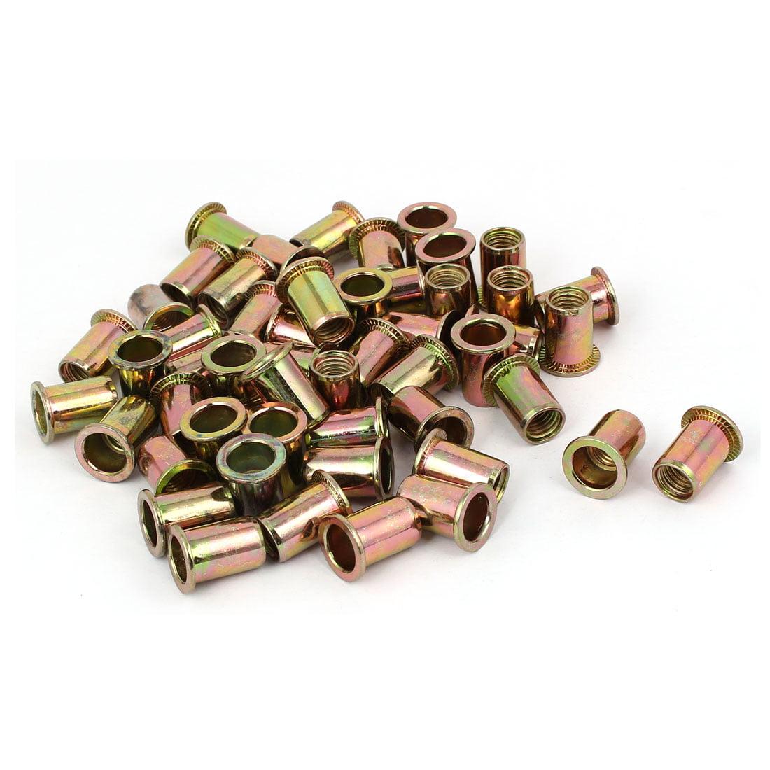 Uxcell M10 x 20mm Blind Rivet Nut Open End Embedded Insert Nutsert (50-pack)