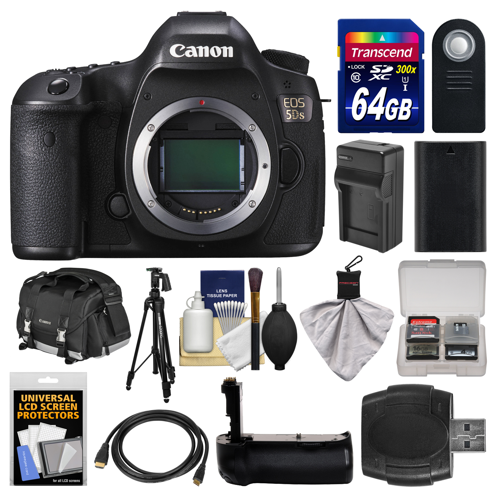 Canon EOS 5DS Digital SLR Camera Body with 64GB Card + Case + Battery & Charger + Grip + Tripod + Remote + Kit by Canon