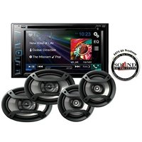 """Pioneer AVH-280BT In Dash Double Din 6.2"""" Touchscreen CD DVD Receiver with one pair of TS-165P 6.5"""" and one pair of TS-695P 6x9"""" Car Speakers with a FREE SOTS Air Freshener"""
