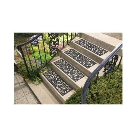 Crafted Butterfly Rubber Patterned Stair Set Non Slip/skid Treads Outdoor Mat, Set of 4, each 29L x 9 1/2W. By CE