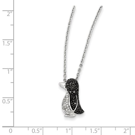 925 Sterling Silver Rhod Plated Black White Diamond Penguin Pendant Charm Necklace Neck Animals/insect Fine Jewelry Gifts For Women For Her - image 2 of 9