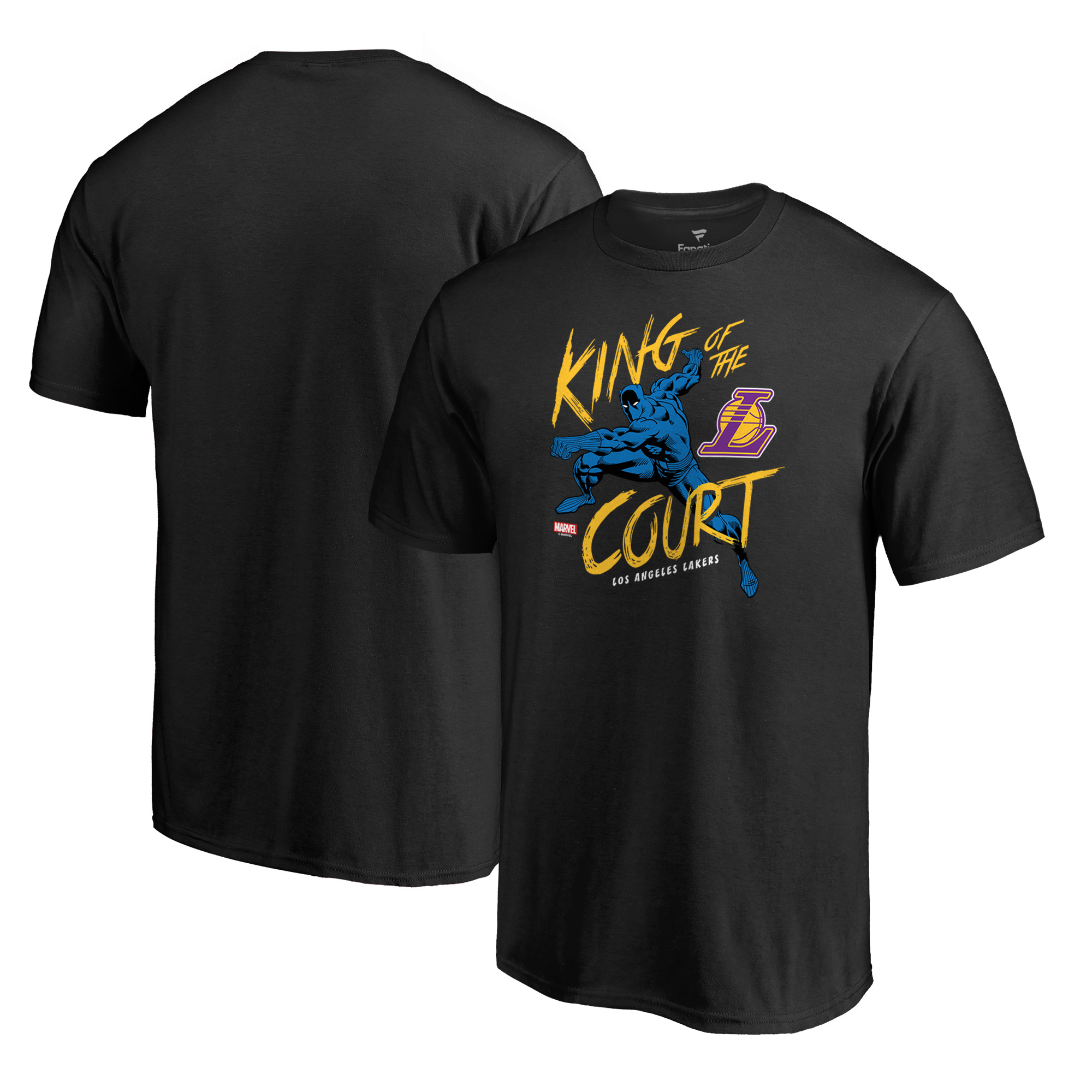 Los Angeles Lakers Fanatics Branded Marvel Black Panther King of the Court T-Shirt - Black