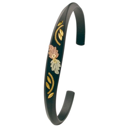 Landstroms Black Hills Gold Black Powder Coated Cuff Bracelet with 10K Gold Trim ()