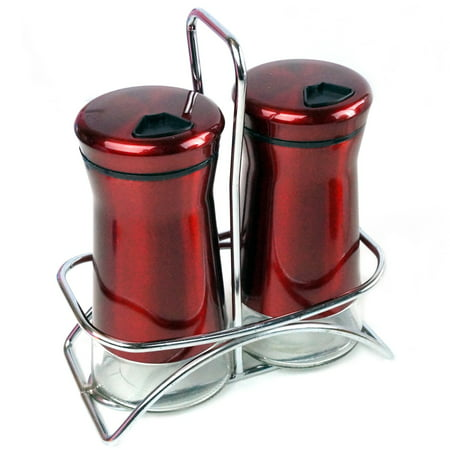 Pepper & Salt Shakers Stainless Steel Cover Glass Bottom Wire Stand Rotating Adjustable Cover - Spice Sugar Shakers