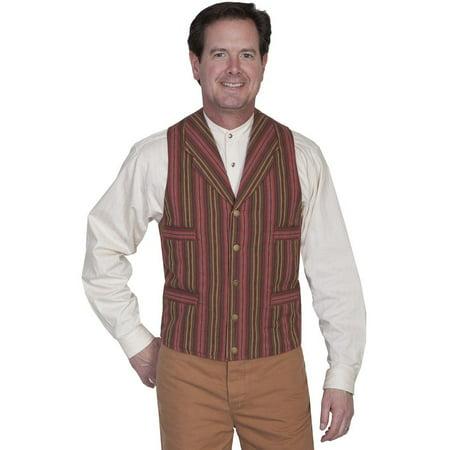 Scully Old West Vest Mens Formal Serape Stripe Cotton L Brown (Brown Striped Vest)