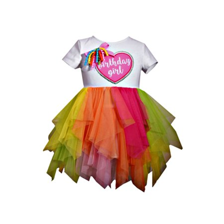 Toddler Baby Girls Colorful Birthday Heart Tutu Dress - 3t Birthday Dress