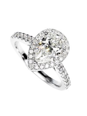 1 Carat Pear Cut Real Diamond Halo Engagement Ring in 10k White Gold