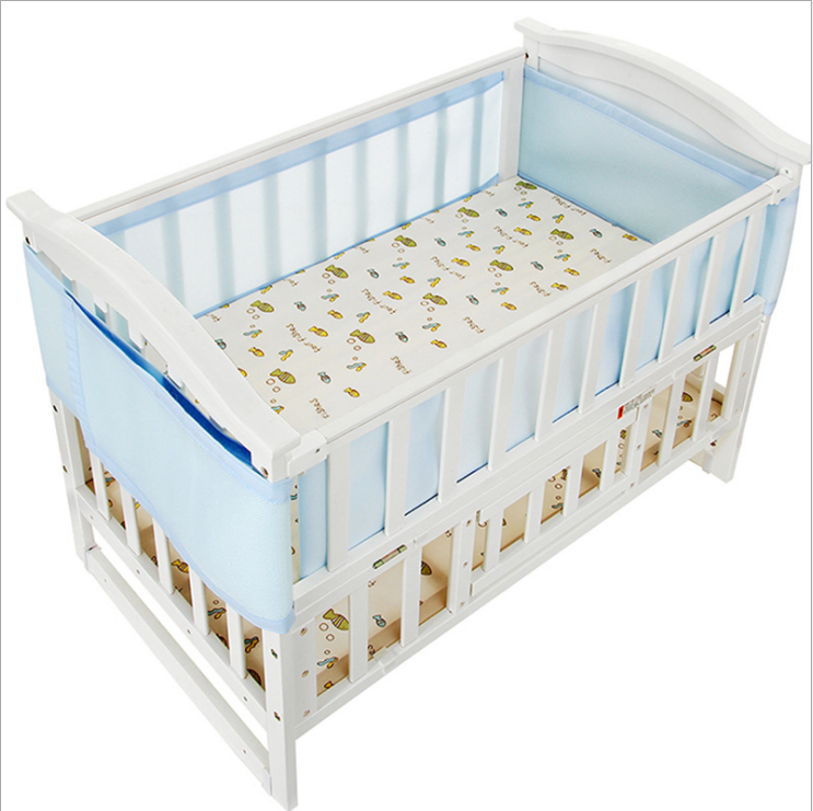 Merveilleux Blue Breathable Mesh Baby Crib Bumpers, Baby Safety Panel Mesh Crib Liner