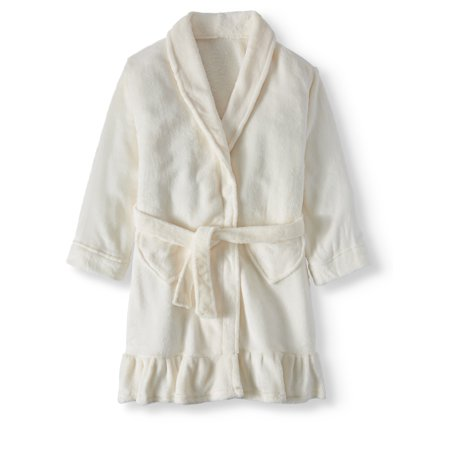 Girls Terry Cloth Robes - Girls' Ruffle Sleep Robe With Heart Pockets