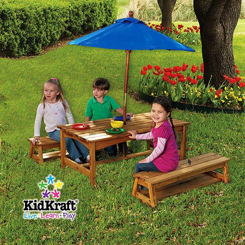 KidKraft - Outdoor Table and Bench Set with Umbrella, Blue