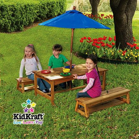 Magnificent Kidkraft Outdoor Kids Wood Table Bench W Umbrella Set Machost Co Dining Chair Design Ideas Machostcouk