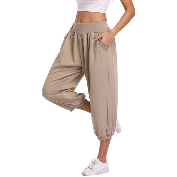 Dilgul Dilgul Women S Harem Pants Loose Fit Capri Pants Jogger Workout Yoga Pants With Pockets Khaki L Walmart Com Walmart Com
