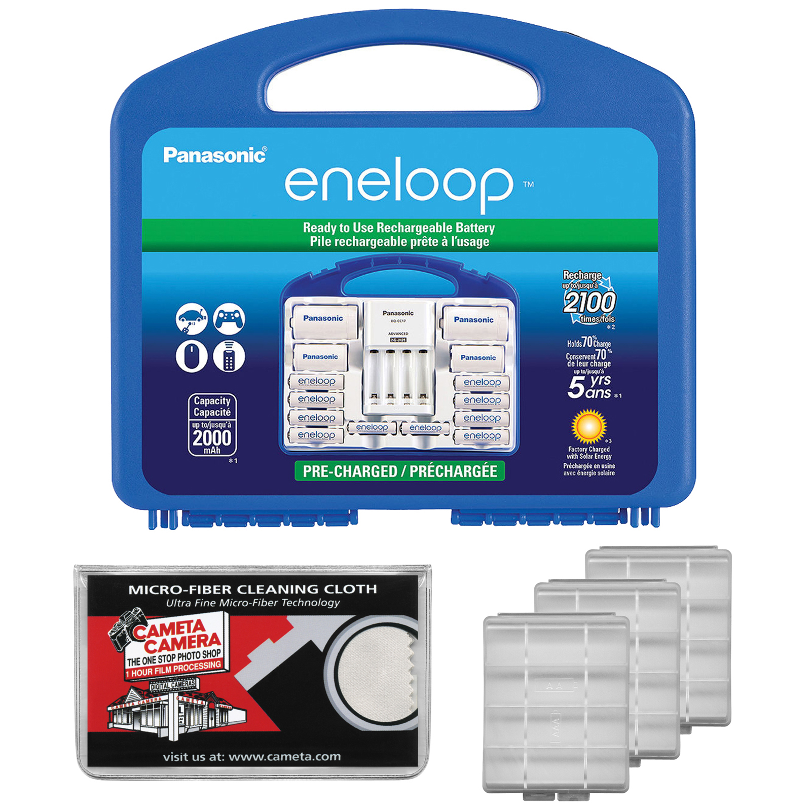 Panasonic eneloop Power Pack Set with 8 AA, 2 AAA Rechargeable Batteries +  Charger & Case with (3) AA/AAA Battery Cases + Microfiber Cleaning Cloth