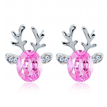 iLH Crystal Gemstone Earrings Luxury Three Dimensional Christmas