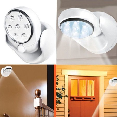 Adjustable LED Motion Light Activated Sensor Indoor Outdoor Cordless Patio Wall ()