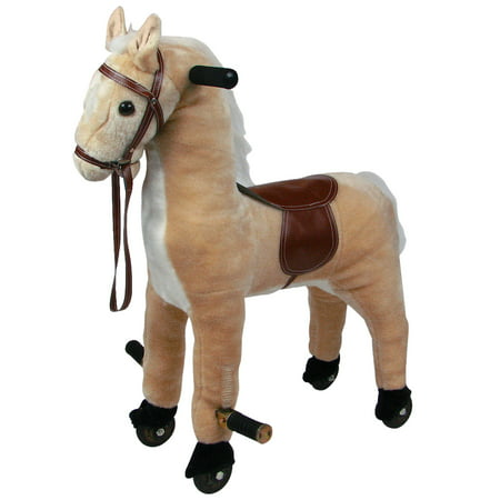 Plush Walking Horse with Wheels and Foot Rest Ride On Toy by Happy Trails (Grand Adhesions Happy Trails)