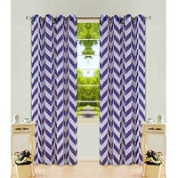 """1 Panel Chevron Navy Blue  Two-Tone Pattern Design Voile Sheer Window Curtain 8 Silver Grommets 55"""" W X 84"""""""