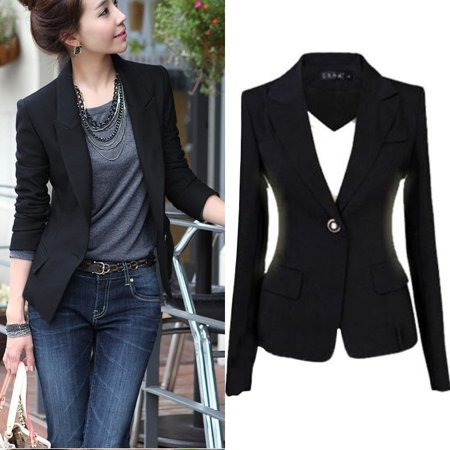 Fashion Women's One Button Slim Casual Business Blazer Suit Jacket Coat - Guess Two Button Blazer