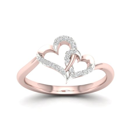 10k Gold Heart Ring - 1/20Ct TDW Diamond 10K Rose Gold Double Heart Ring