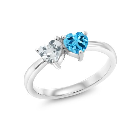 0.94 Ct Heart Shape Sky Blue Aquamarine Swiss Blue Topaz 925 Silver Ring Aquamarine Blue Topaz Ring