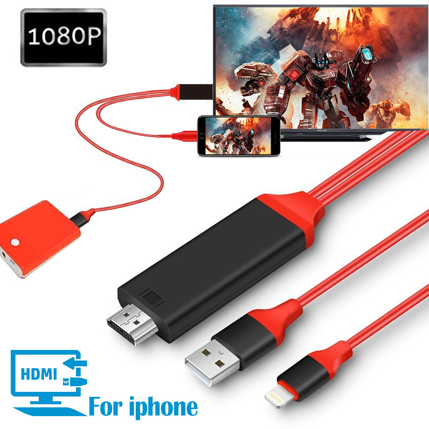 iPhone Lightning to HDMI Adapter, 6.6FT 1080P iphone lightning to HDMI Video AV Cable Connector Conversion HDTV Adapter for iPhone/iPad/iPod