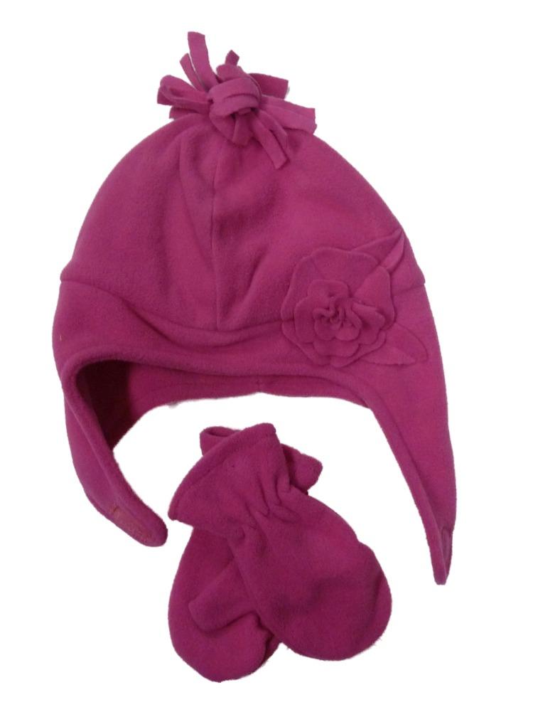 NICE CAPS Girls Kids Baby Wrap Around Hat and Mitten Winter Snow Headwear Set