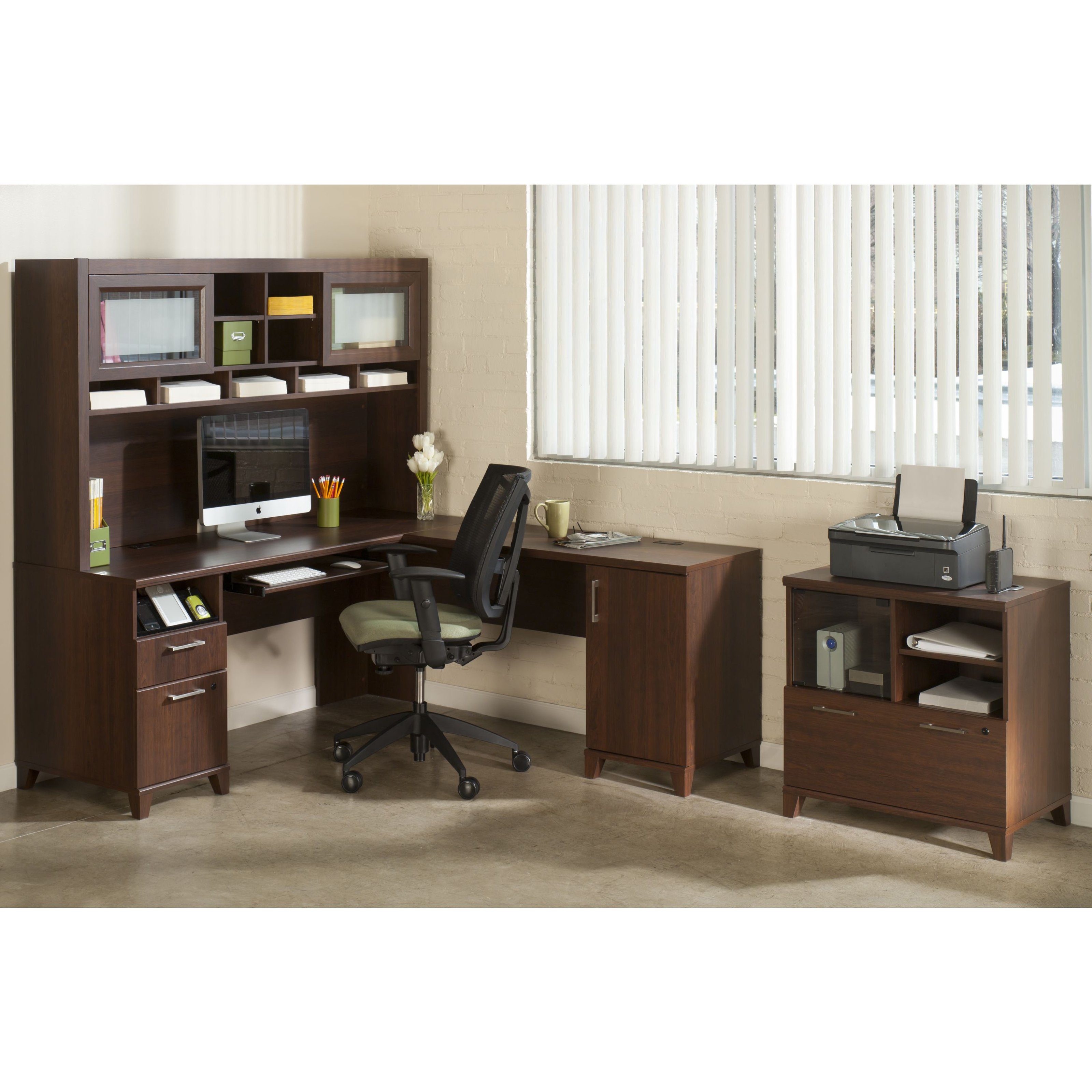 Bush Office Connect Achieve L-Shaped Desk with Hutch and Lateral File - Sweet Cherry