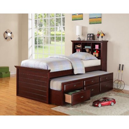 Simple Relax Kids Twin Bed Build In Bookcase Headboard Trundle 3