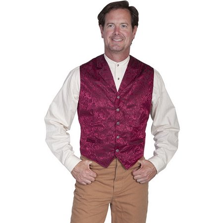 (Scully Western Vest Mens Silk Adjustable Back Button Front 535354)