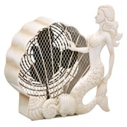 DecoFLAIR Table Fan Two-Speed Electric Circulating Fan, White Mermaid Figurine Fan