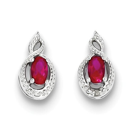 Sterling Silver 0.5IN Long Created Ruby & Diamond Earrings