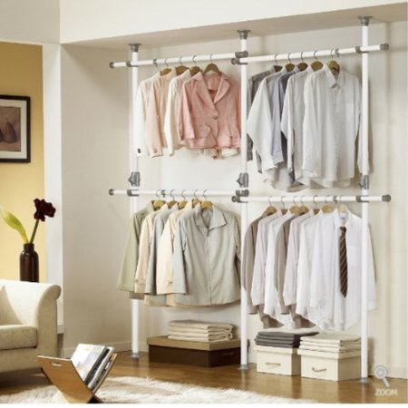 One Touch Double 2 Tier Adjule Hanger Prince Holding 80kg 176lb Per Horizontal Bar Clothing Rack Closet Organizer 38mm Vertical Pole