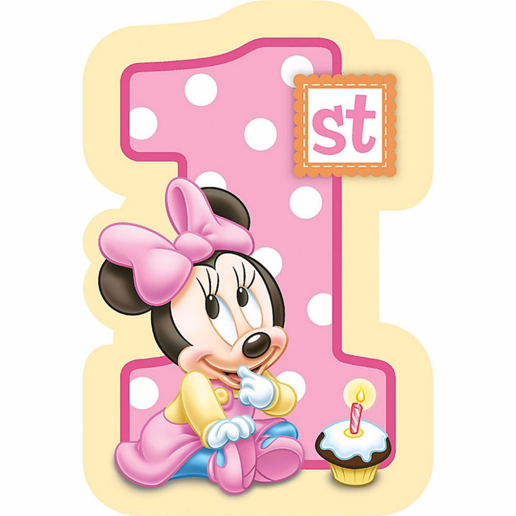 1/4 Sheet Minnie Mouse Girl's 1st Birthday Edible Frosting Cake Topper- 78608*