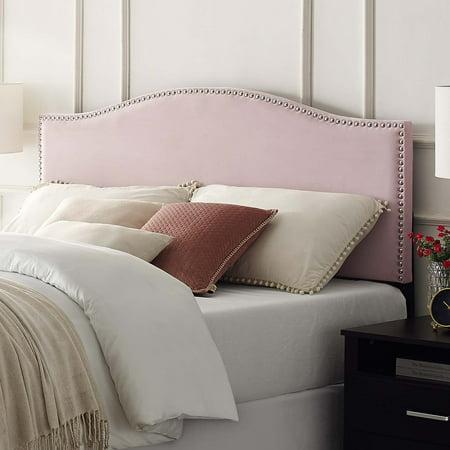 Basic Radius Upholstered Headboard, Blush Velvet, Full/Queen (Hot Pink Upholstered Headboard)