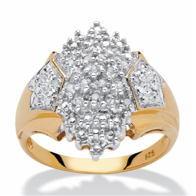 Palm Beach Jewelry 561057 0. 1 TCW Diamond Accent Cluster Ring, 18k Yellow Gold Over Sterling Silver, Size 7