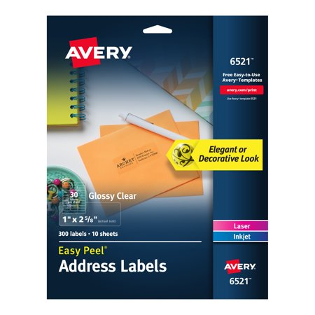 Avery Glossy Crystal Clear Address Labels for Laser & Inkjet Printers, 1