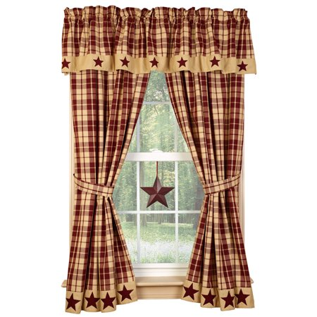 Farmhouse Star Lined Curtain Panels, Burgundy or Black and Tan, 63