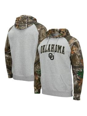 Oklahoma Sooners Colosseum Arch & Logo 2.0 Raglan Pullover Hoodie - Heathered Gray/Realtree Camo