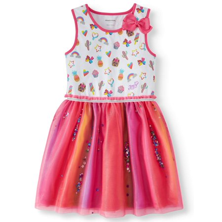 Wedding Dress With Rainbow Tulle Underneath (Printed Jersey and Rainbow Tulle Dress (Little Girls & Big)