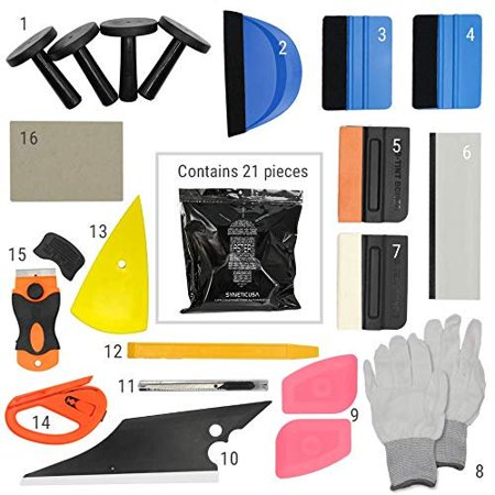 Syneticusa SUV/Truck/Car Window Tint Wrapping Vinyl Application Tools Squeegee Scraper Applicator Kits (21pcs kit)