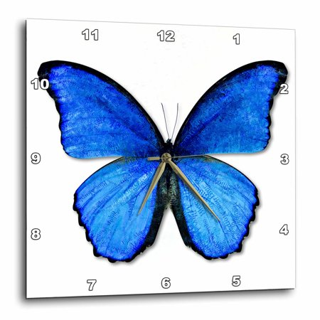 3dRose Photo Illustration Blue Butterfly, Wall Clock, 13 by
