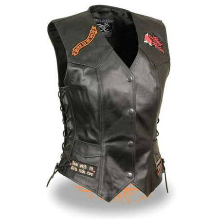 - Milwaukee Leather Event Ladies Side Lace Love to Ride Vest Pre-Patched Black