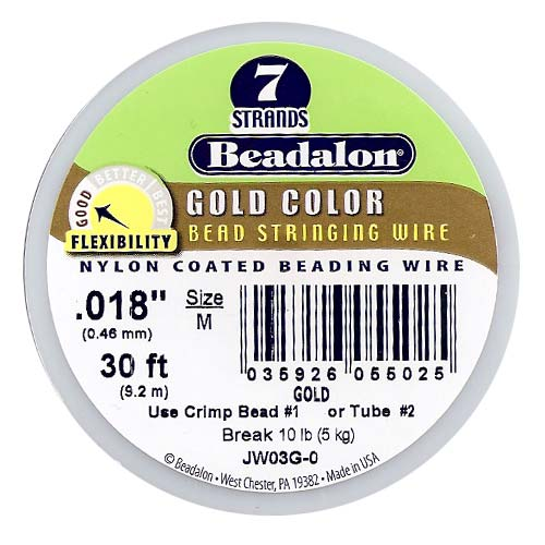 Beadalon Wire Gold Color 7 Strand Medium .018 Inch / 30Ft