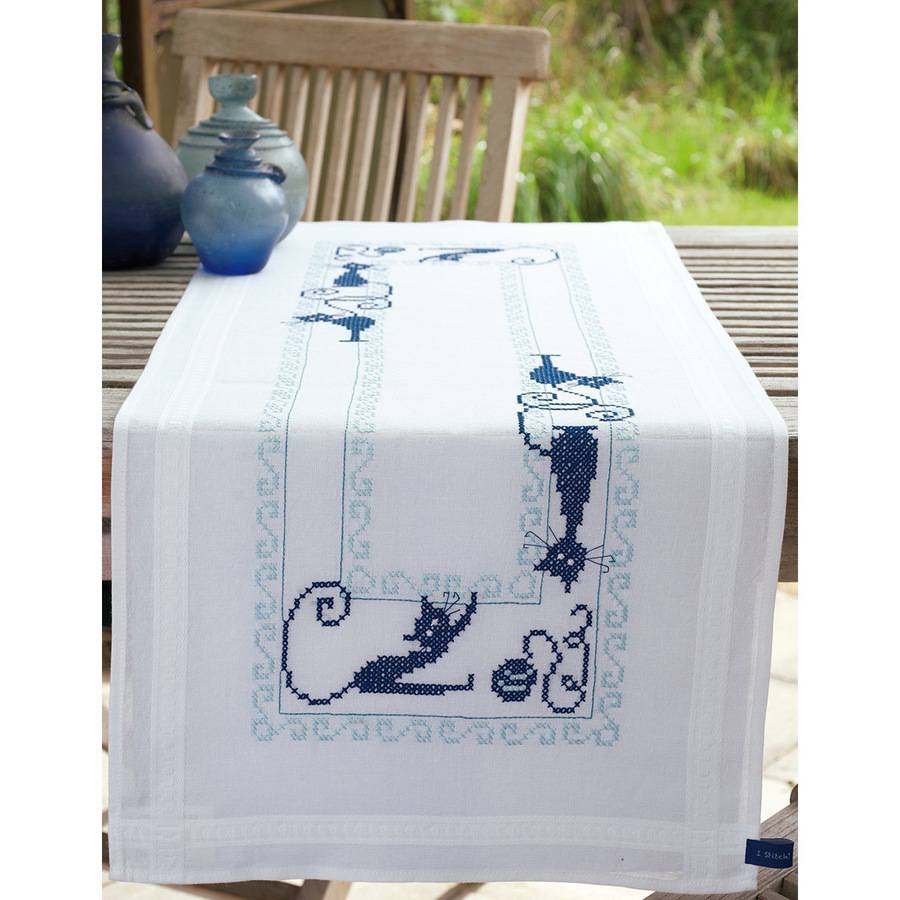 """Vervaco Cheerful Cats Table Runner Stamped Embroidery Kit, 16"""" x 40"""""""