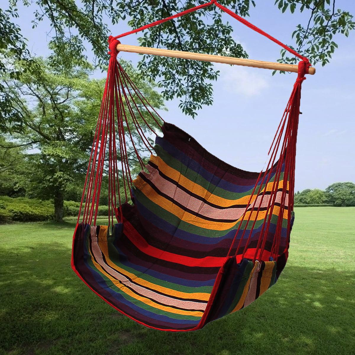 Hammock Chair Swing Seat Indoor Outdoor Garden Patio Yard Single Hanging Rope