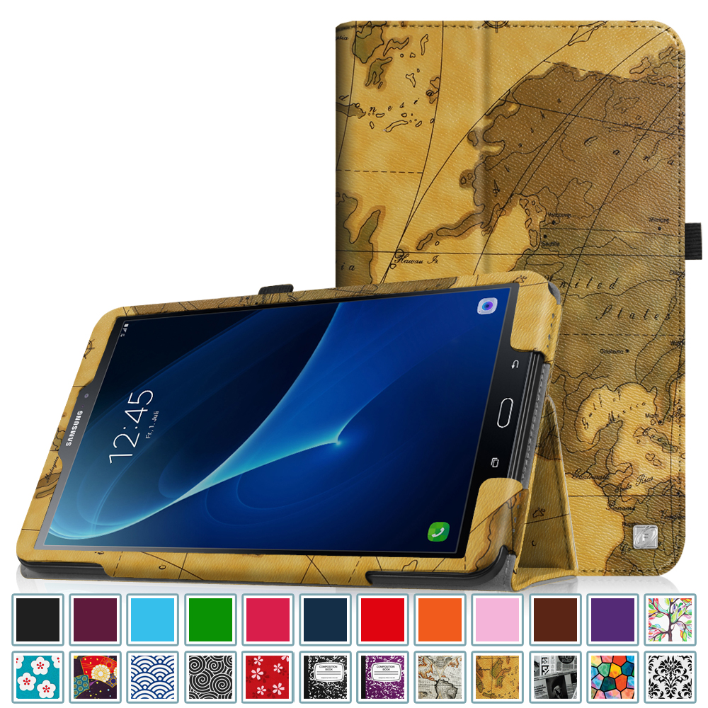 Fintie Samsung Galaxy Tab A 10.1 Tablet Folio Case -  Slim Fit PU Leather Stand Cover, Map Brown